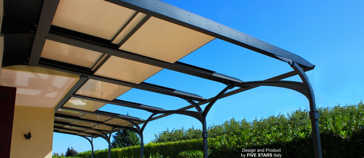 MAIA patio awnings with retractable roof in aluminium - pergolas