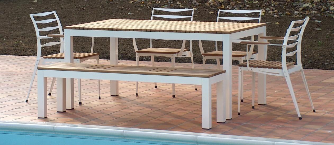 Tavoli e sedie da giardino in alluminio e teak moderno - FIVESTARSITALY